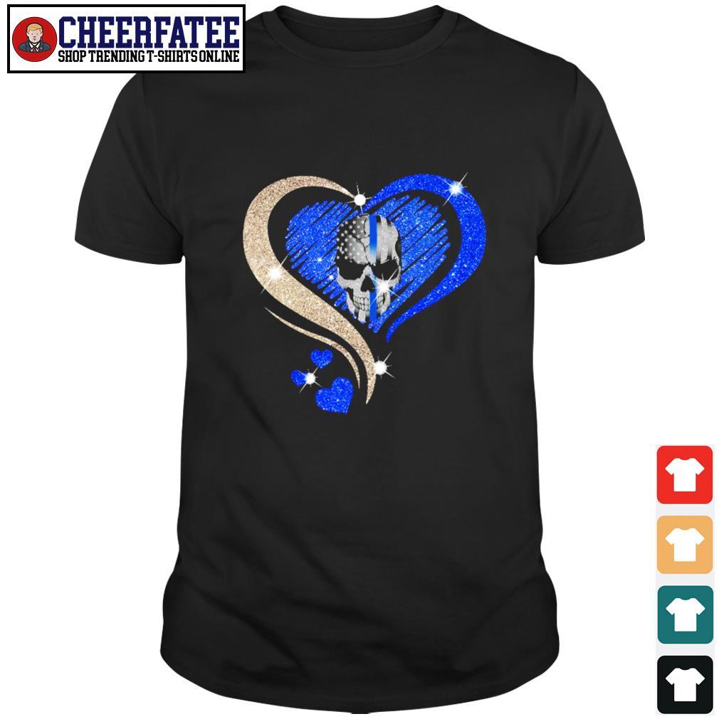 Love skull heart american flag shirt