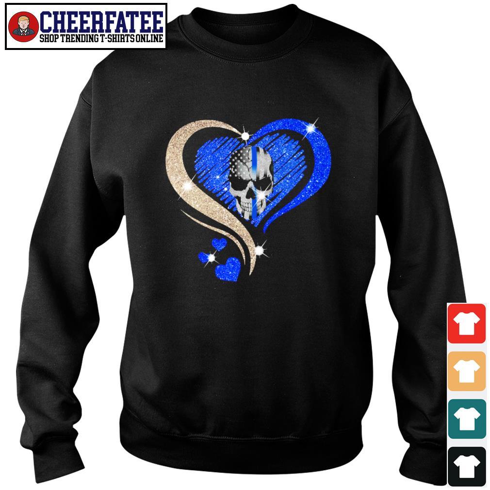 Love skull heart american flag s sweater