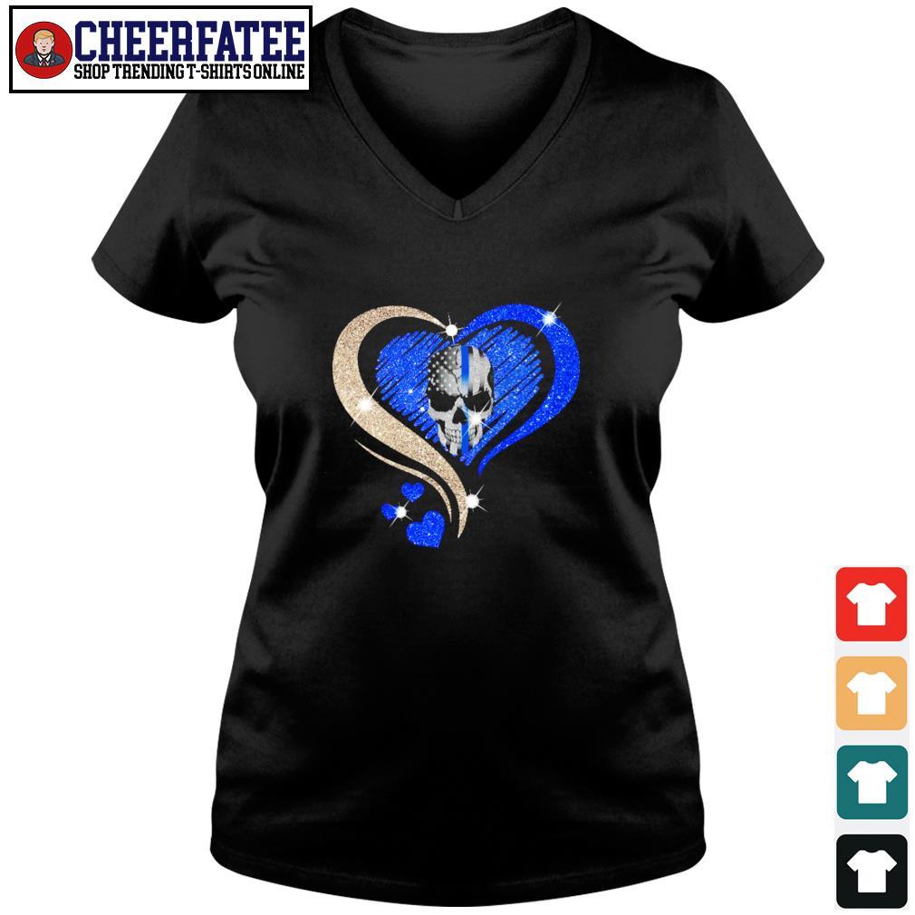 Love skull heart american flag s v-neck t-shirt