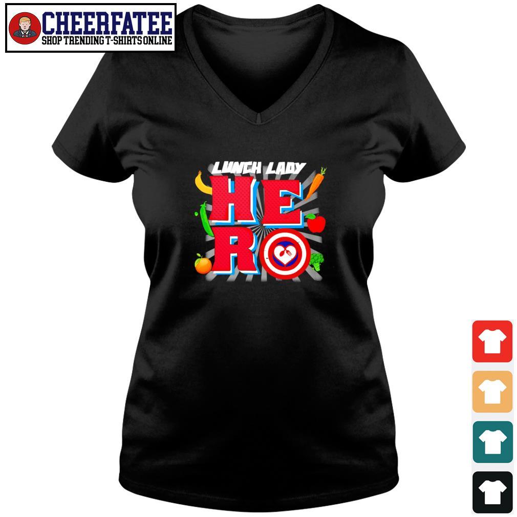 Lunch lady hero captain s v-neck t-shirt