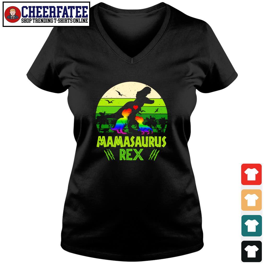 Mamasaurus rex green LGBT s v-neck t-shirt