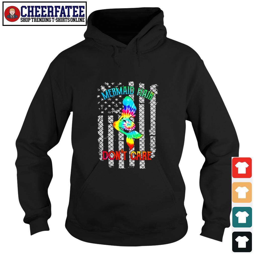 Mermaid hair don't care tie dye american flag s hoodie