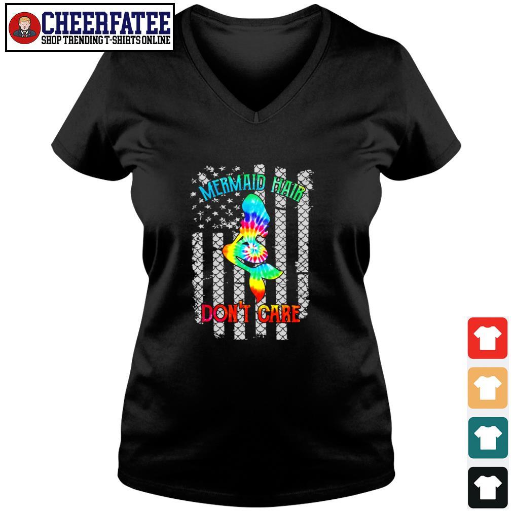 Mermaid hair don't care tie dye american flag s v-neck t-shirt