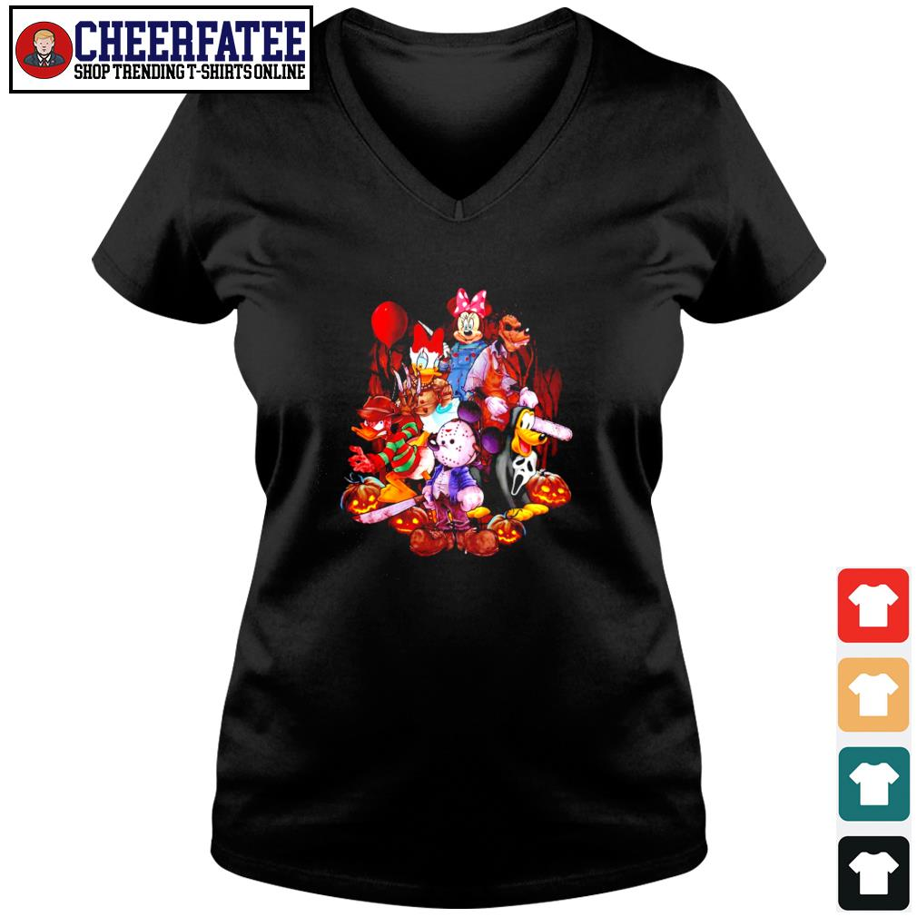 Mickey mouse movie horror character halloween s v-neck t-shirt