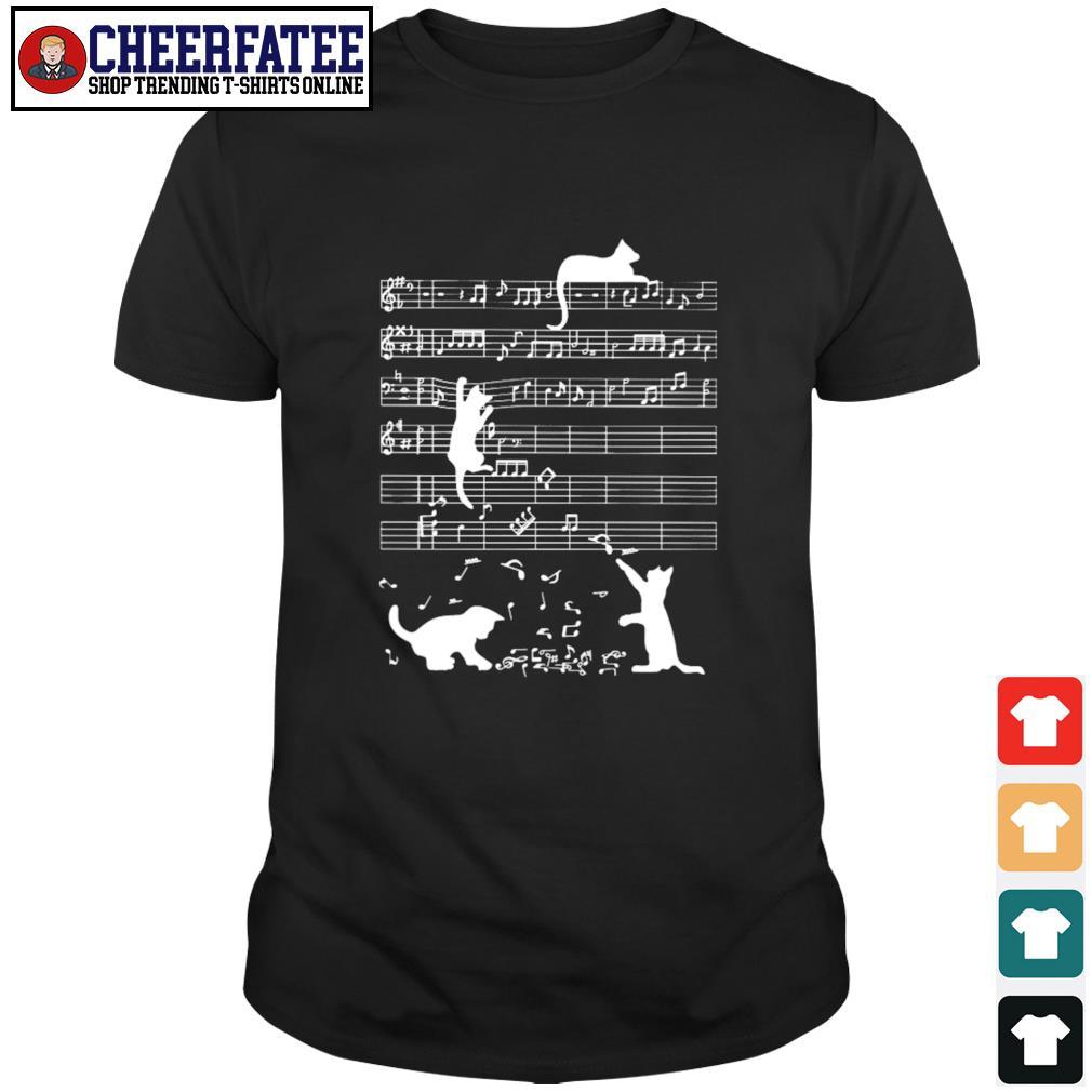 Musical notation cat shirt