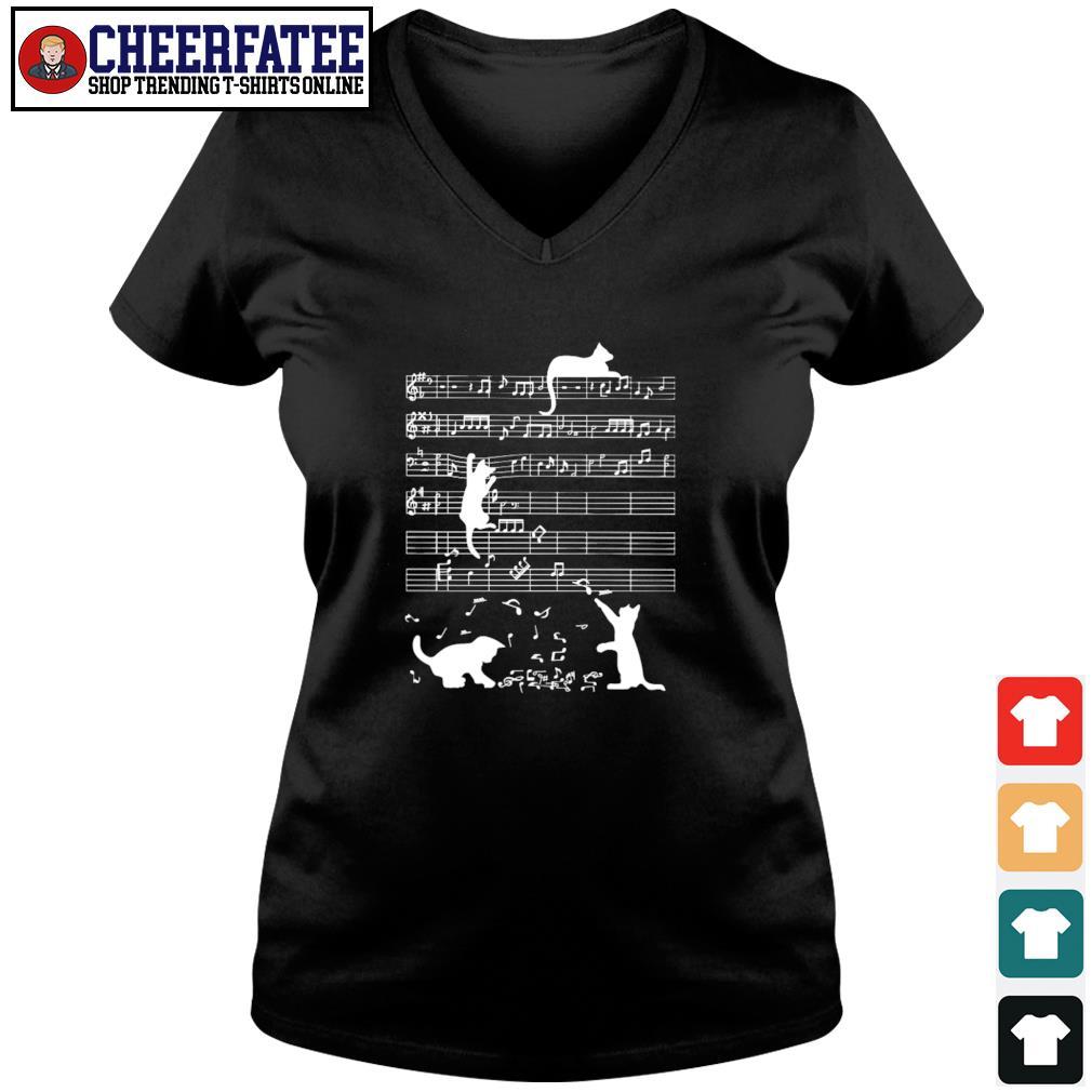 Musical notation cat s v-neck t-shirt