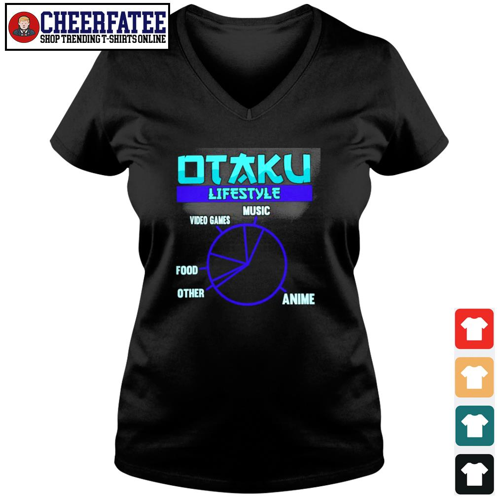 Otaku lifestyle music video game food other anime s v-neck t-shirt