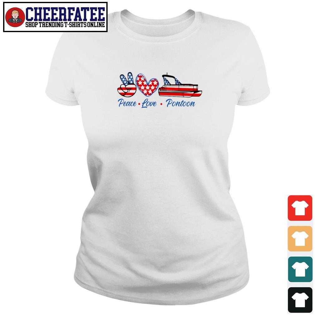 Peace love pontoon american flag s ladies-tee