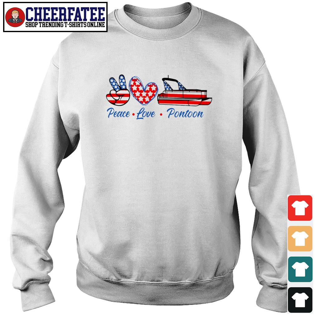 Peace love pontoon american flag s sweater