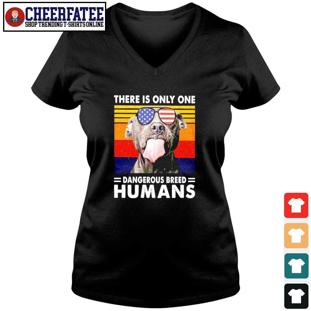 Pitbull there is only one dangerous breed humans american flag s v-neck t-shirt