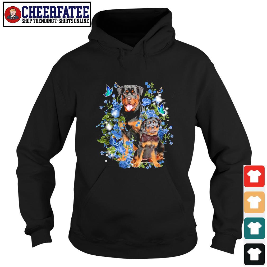 Rottweiler butterfly rose blue s hoodie