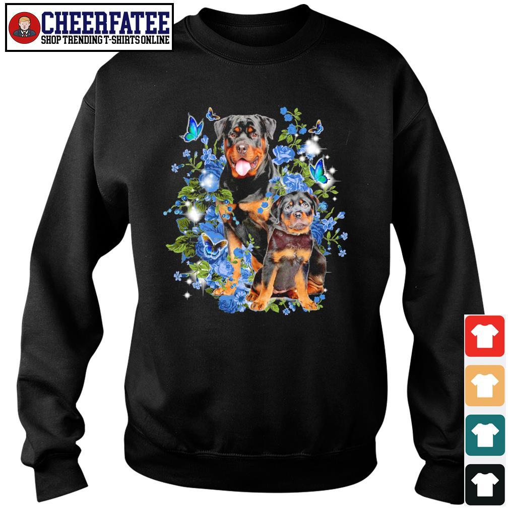 Rottweiler butterfly rose blue s sweater
