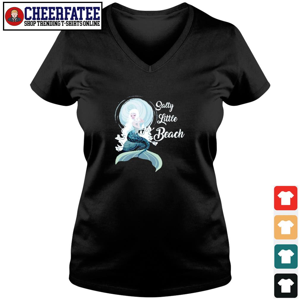 Salty little beach mermaid s v-neck t-shirt