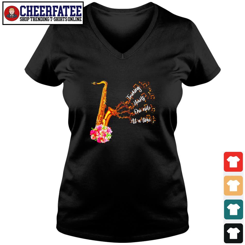 Saxophone touching hearts one note at a time s v-neck t-shirt