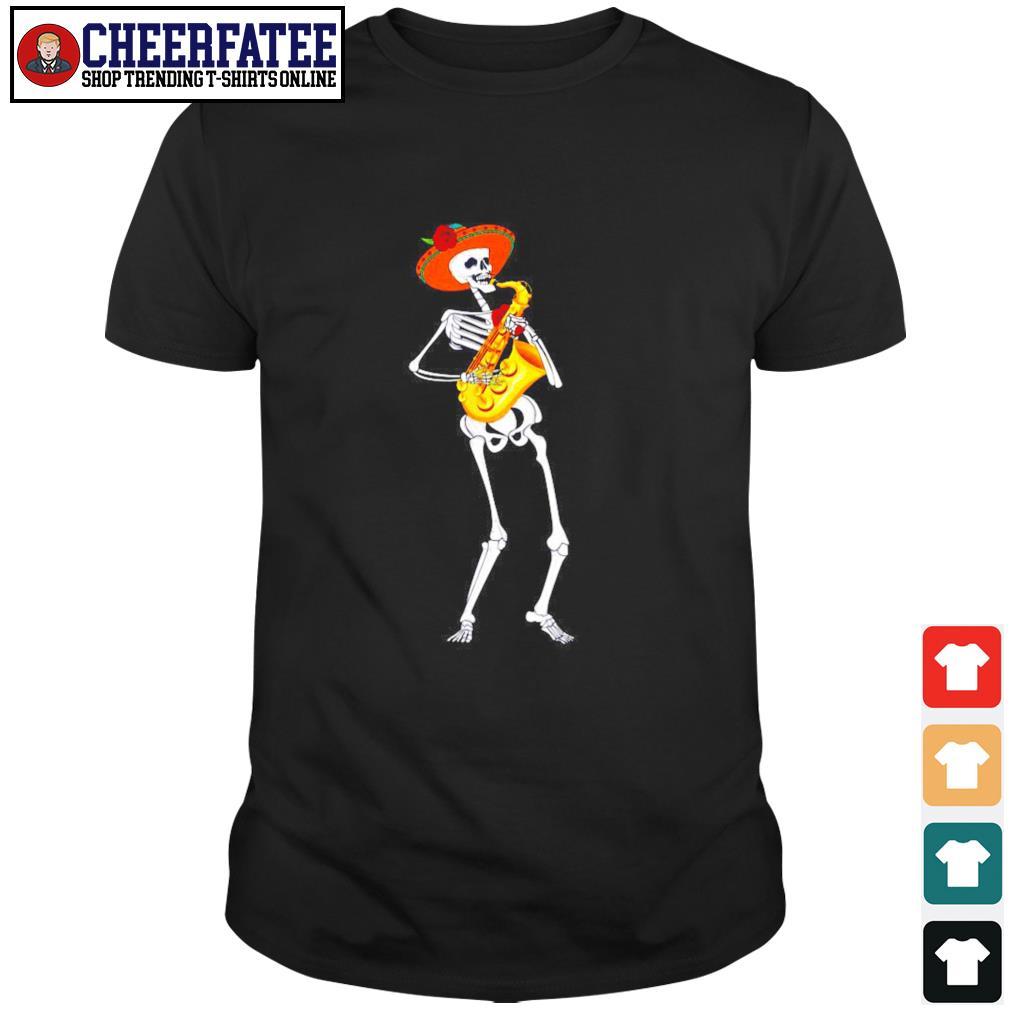 Skeleton playing saxophone shirt