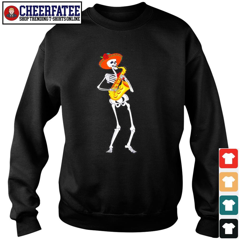 Skeleton playing saxophone s sweater