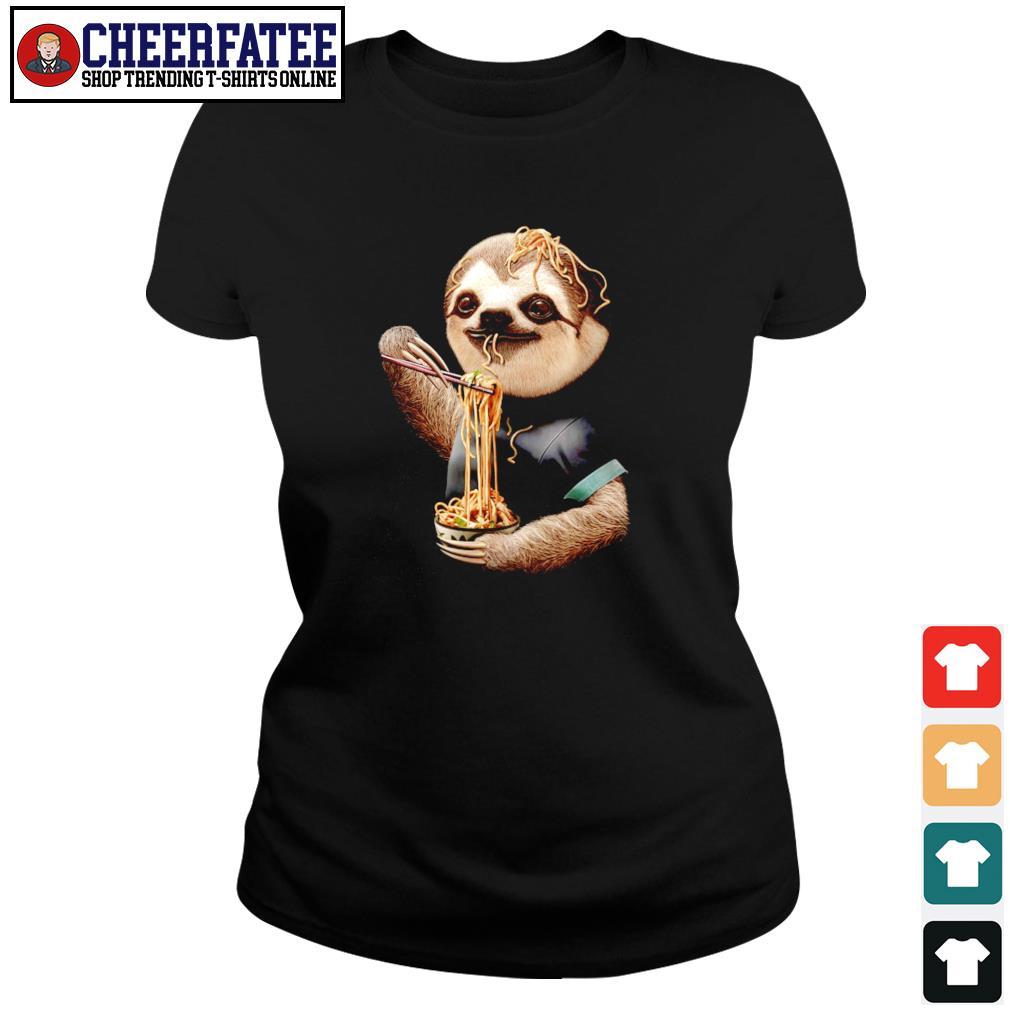 Sloth eating ramen s ladies-tee