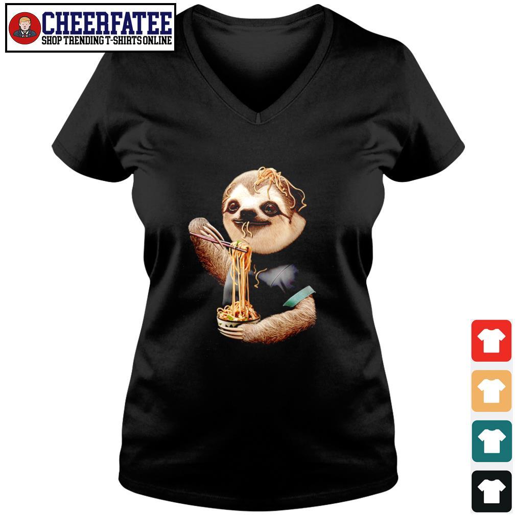 Sloth eating ramen s v-neck t-shirt