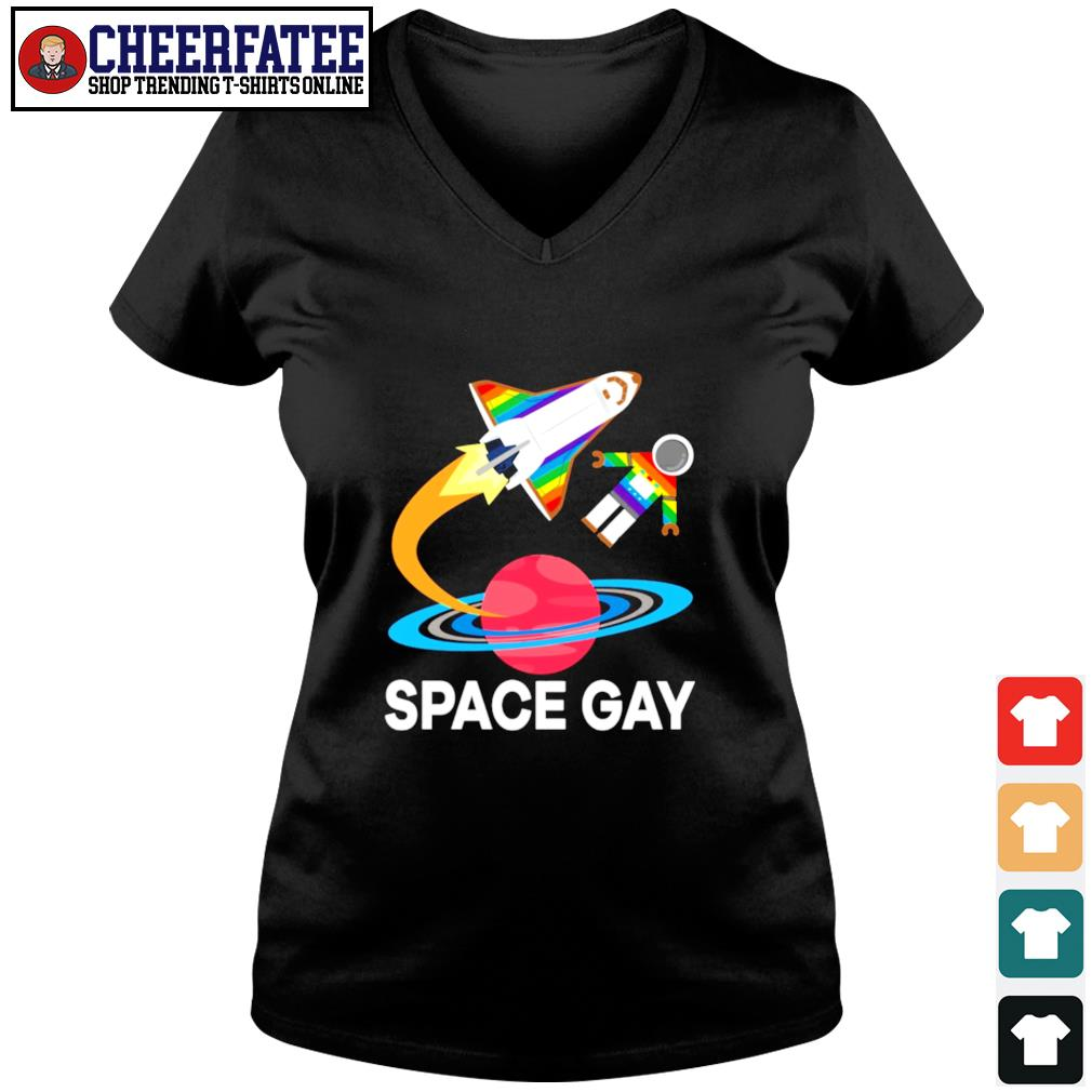 Space gay LGBT s v-neck t-shirt