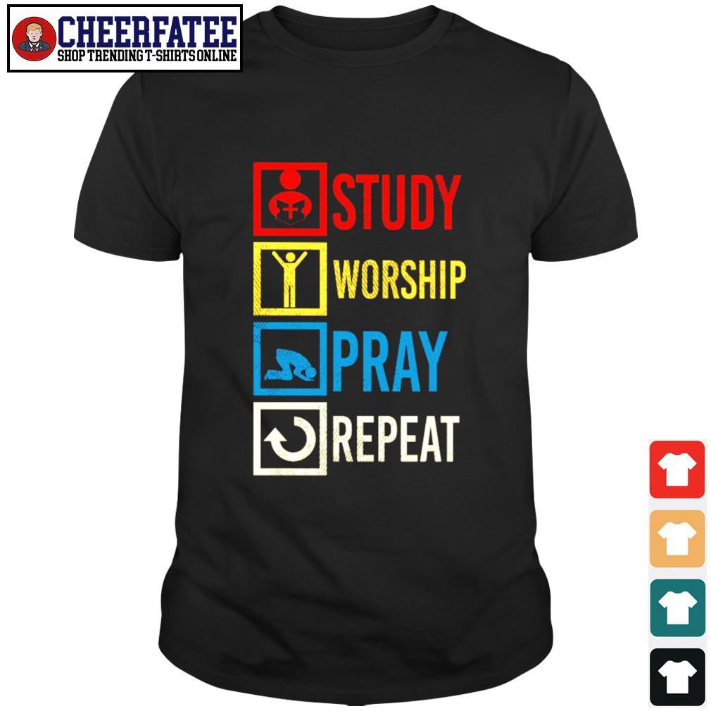 Study worship pray repeat vintage shirt