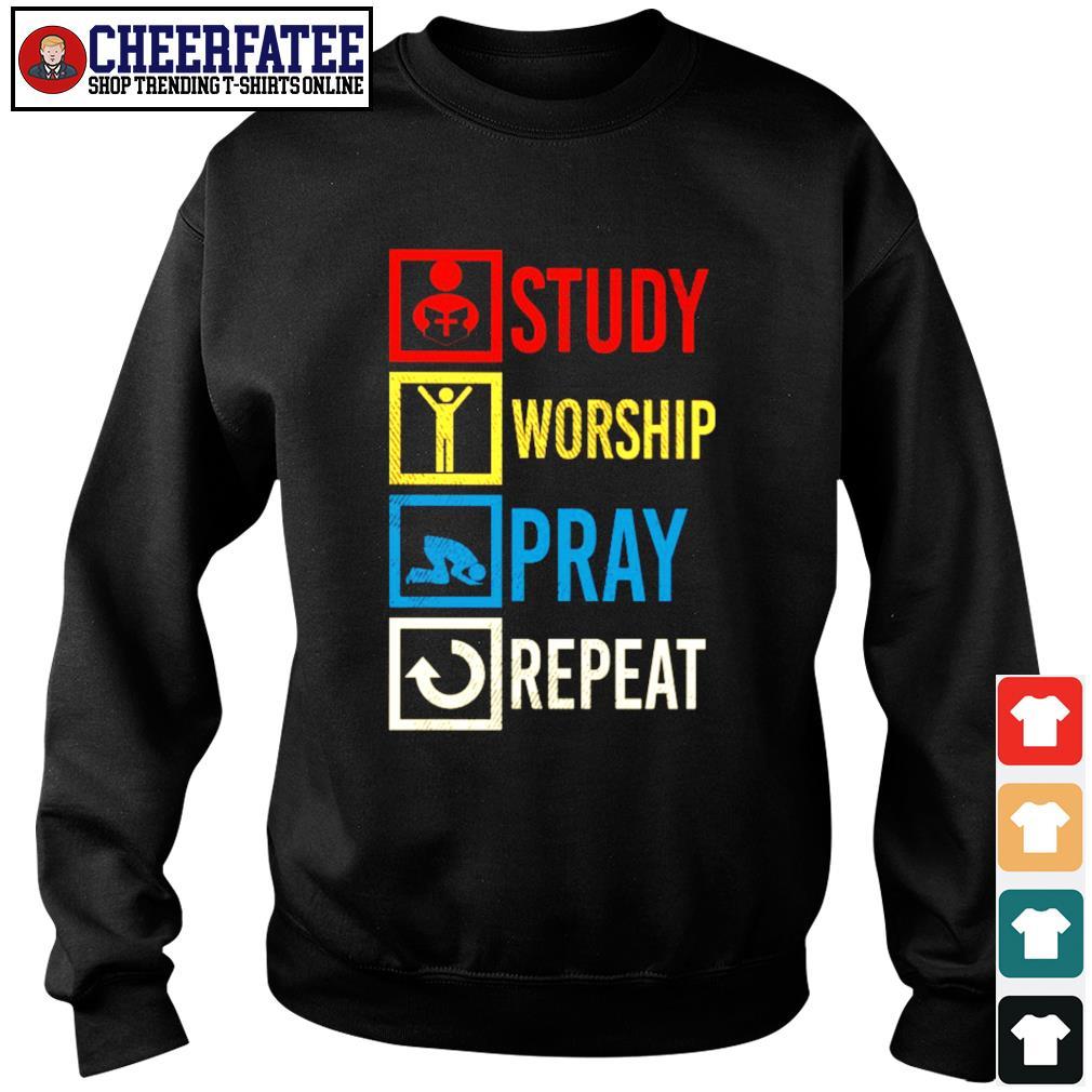 Study worship pray repeat vintage s sweater