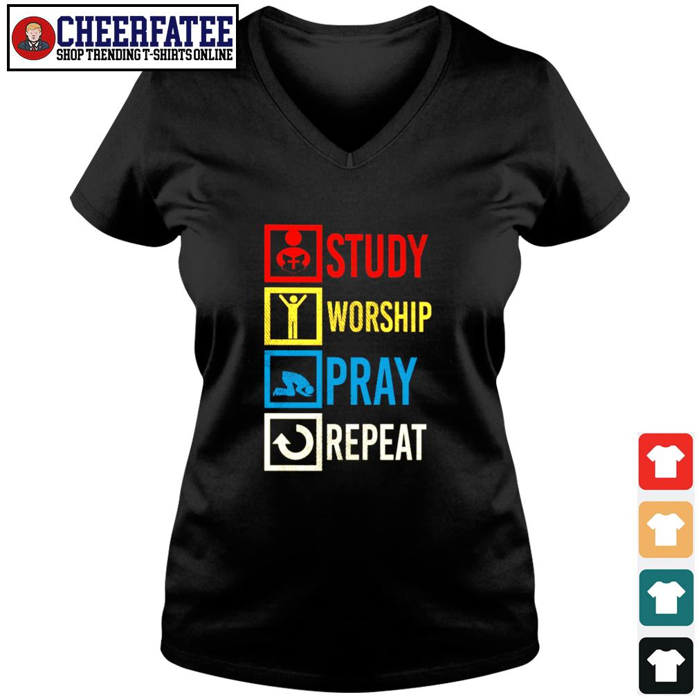 Study worship pray repeat vintage s v-neck t-shirt