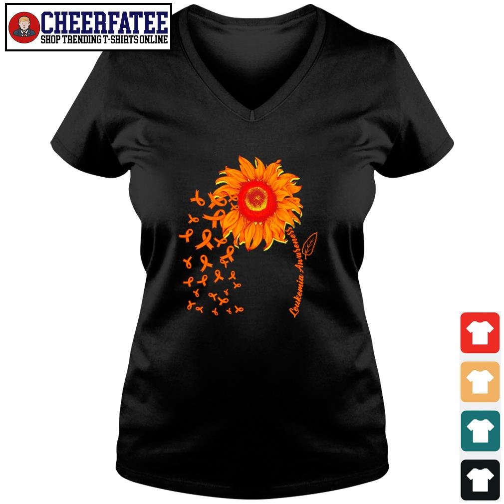 Sunflower leukemia awareness s v-neck t-shirt