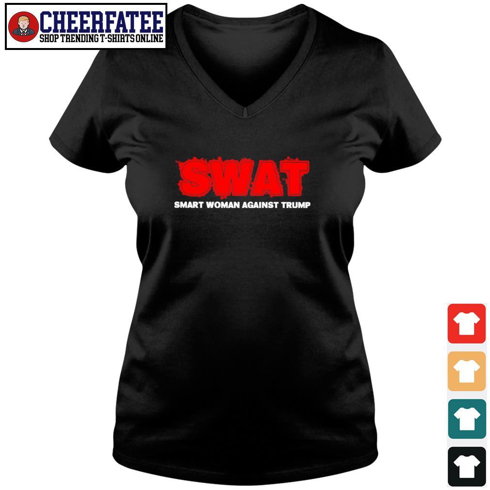 Swat smart woman against trump s v-neck t-shirt