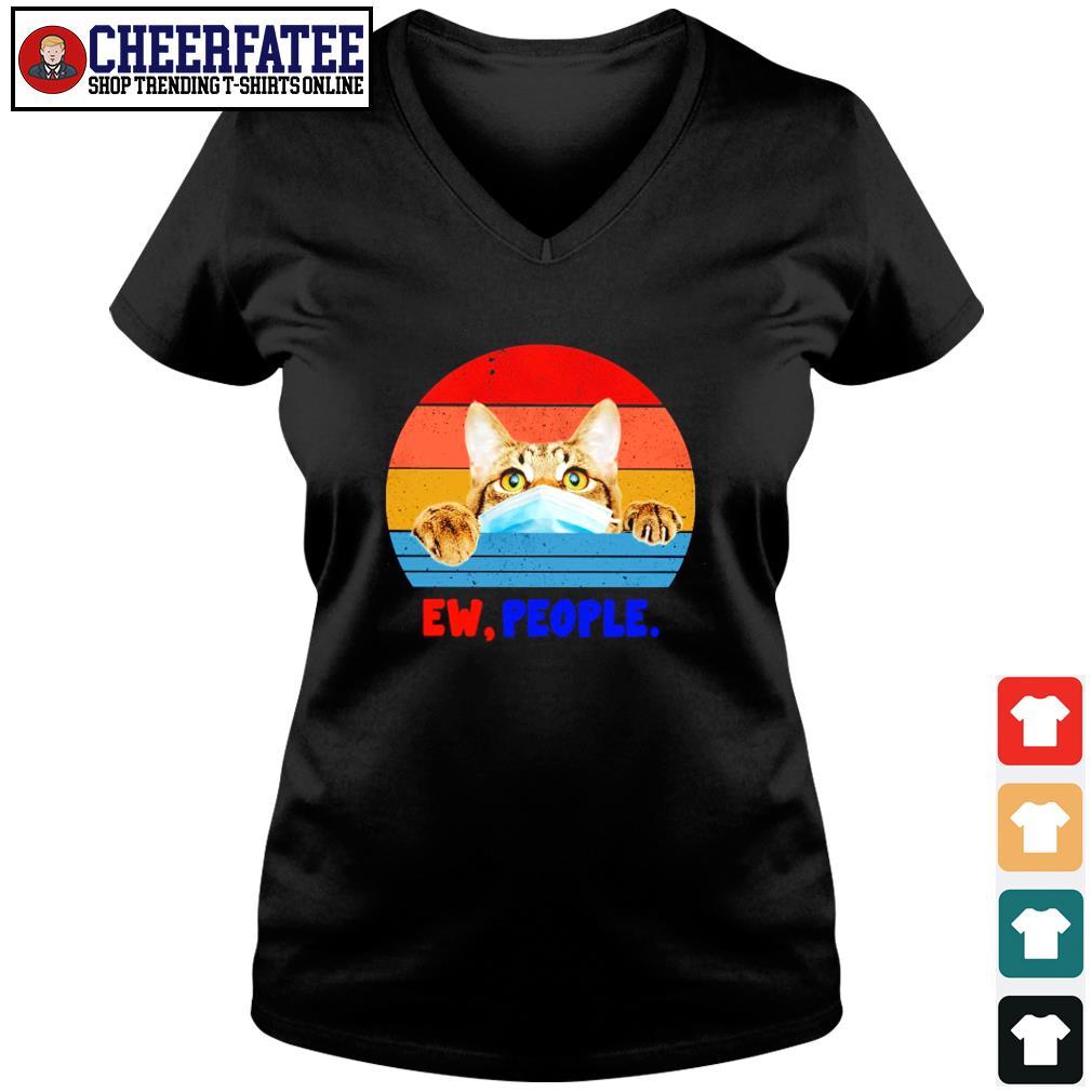 Tabby cat ew people vintage s v-neck t-shirt