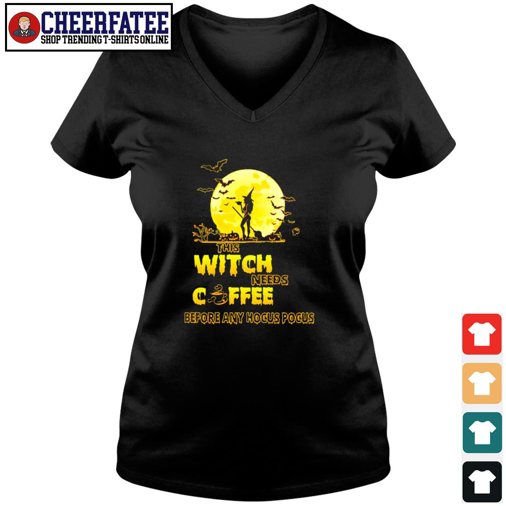 This witch needs coffee before any hocus pocus s v-neck t-shirt