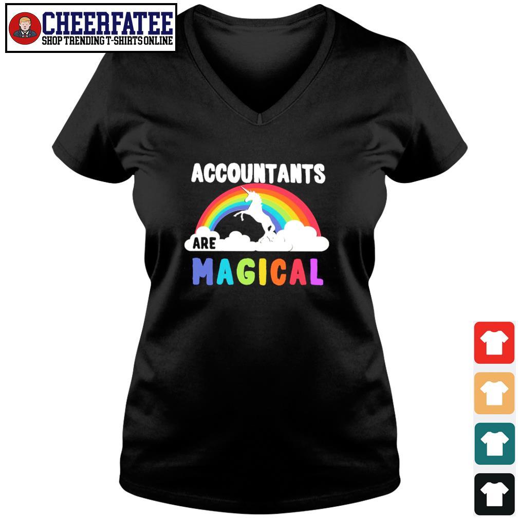 Unicorn accountant are magical rainbow s v-neck t-shirt