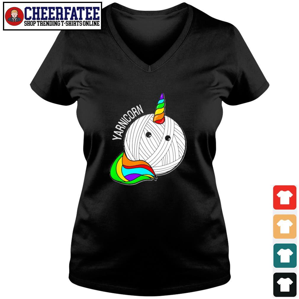 Unicorn yarnicorn pride s v-neck t-shirt