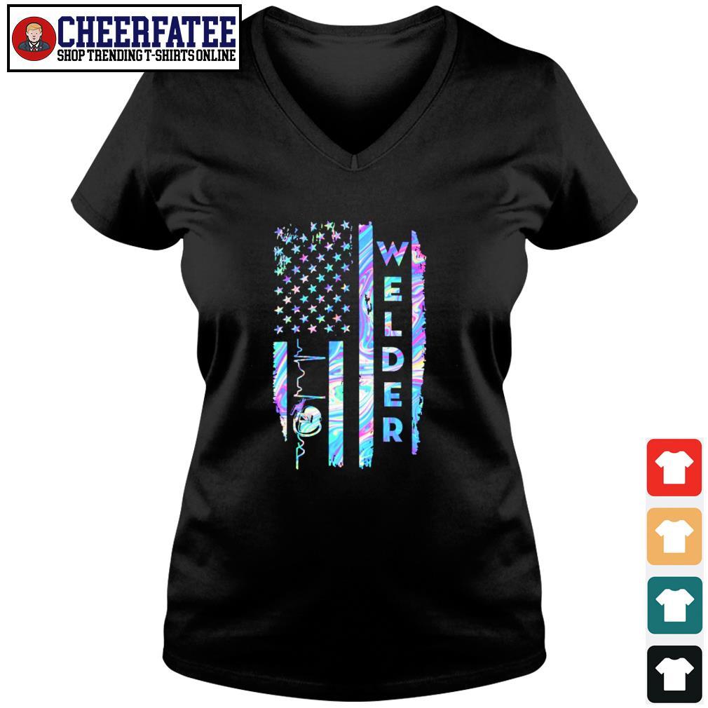 Welder american flag s v-neck t-shirt