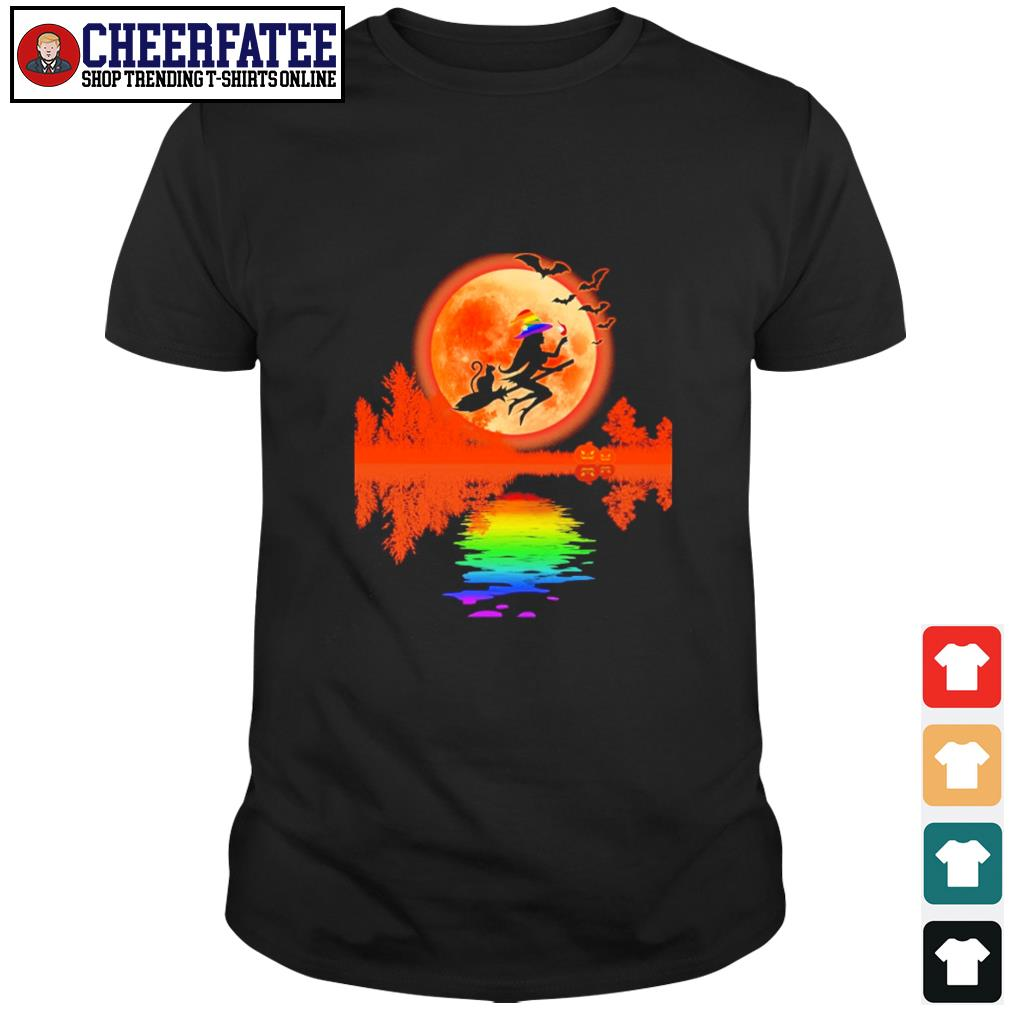 Witch cat lake moon LGBT shirt
