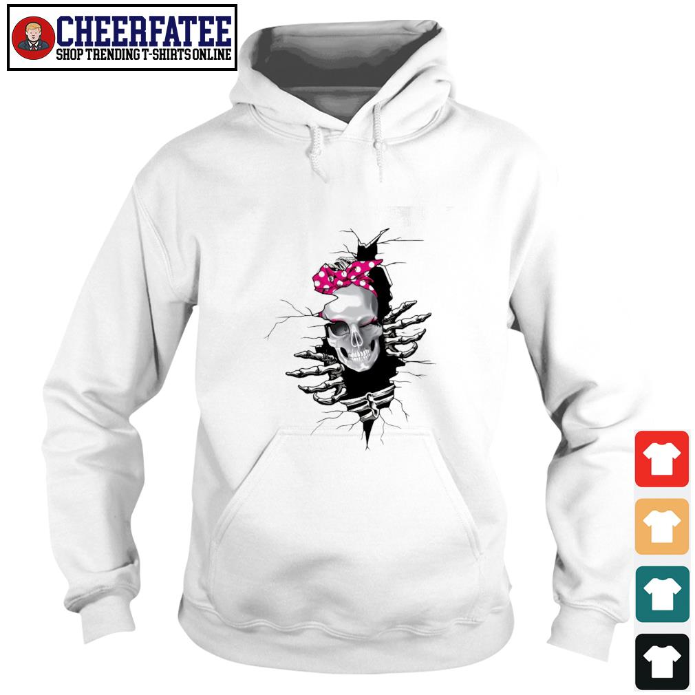 Woman strong skull coming out of my heart s hoodie